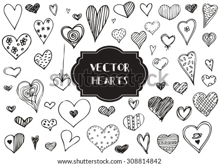 Vector graphic set of hand drawn hearts on a white background. - stock vector