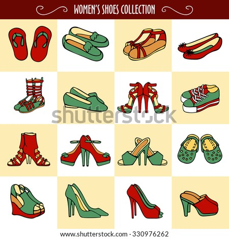 Vector graphic set of hand drawn women's shoes in red and green colors. Beautiful illustration of stylish accessories for your design on white and beige squares background.