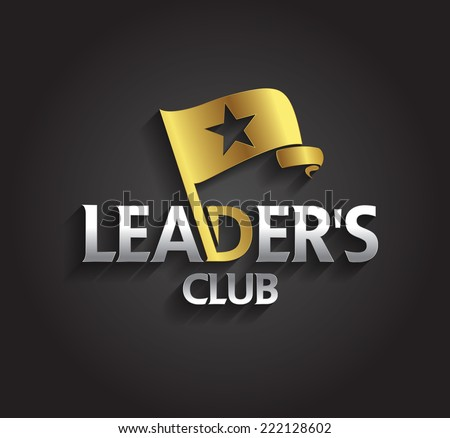 Vector graphic silver and gold symbol for company leaders with flag and star shape - stock vector
