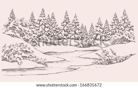 Vector graphic sketch. Winter forest landscape with snow-covered fir trees and bushes on the hills near the frozen river  - stock vector
