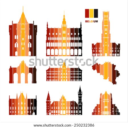 Vector graphic symbols of Belgium. Belgium map. - stock vector