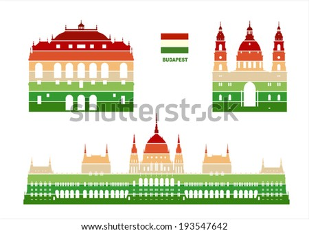 Vector graphic symbols of Budapest - stock vector