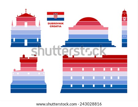 Vector graphic symbols of Dubrovnik (Croatia).  - stock vector