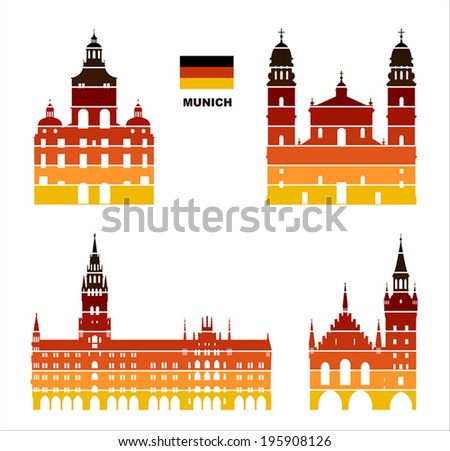 Vector graphic symbols of Munich - stock vector