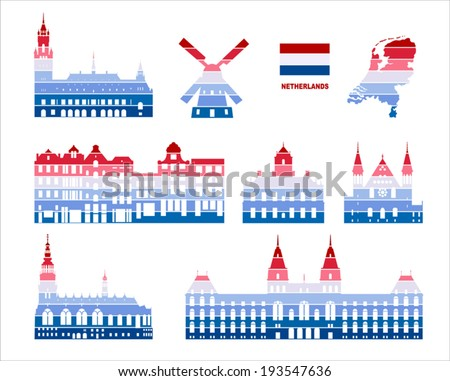 Vector graphic symbols of Netherlands - stock vector