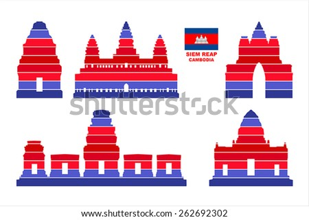 Vector graphic symbols of Siem Reap (Cambodia). - stock vector