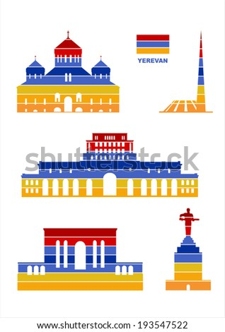 Vector graphic symbols of Yerevan - stock vector