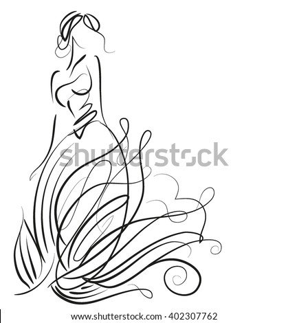 VECTOR    graphic with beautiful young   girl model for design. Fashion, style, youth,   beauty .Graphic, sketch drawing. Sexy woman. Dress, clothes, groom, bride,     - stock vector