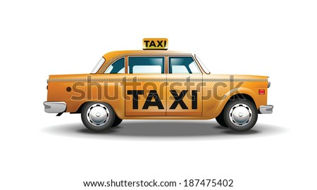 Vector graphic yellow, retro Taxi cab on white background with black Taxi sign  - stock vector