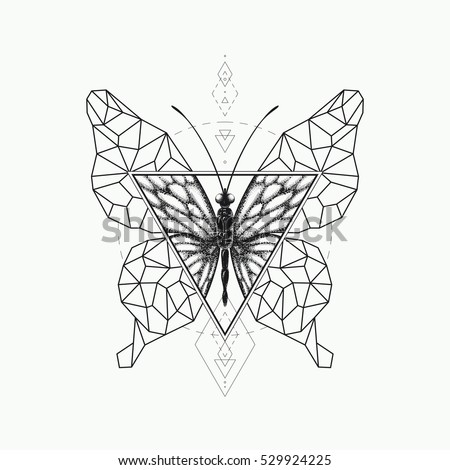 Vector Graphical Butterfly Design Black Sacred Geometry And Realistic Illustration Not Auto Trace