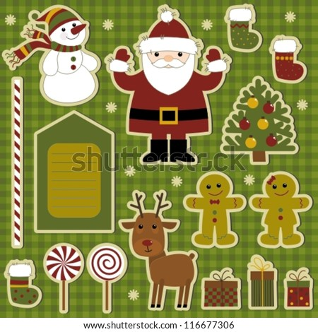 Vector graphics. Collection of items for scrapbooking. Merry Christmas!