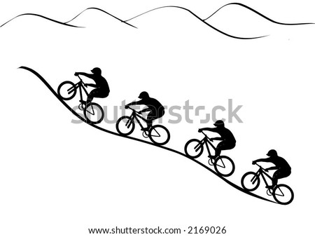 Vector Graphics Illustration Mountain Bike Riders Claim The Hill