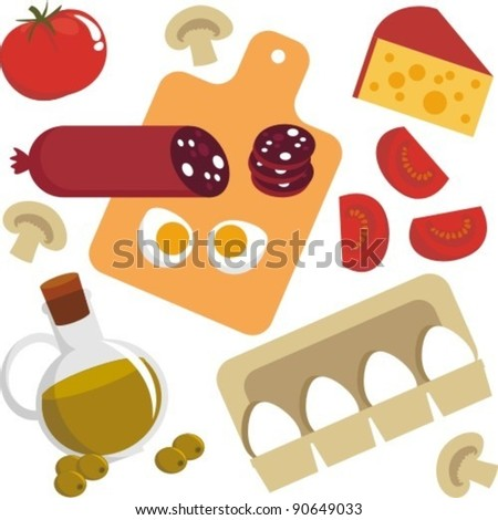 Vector graphics. Picture of food. Egg, cheese, sausage, champignon, tomato - stock vector
