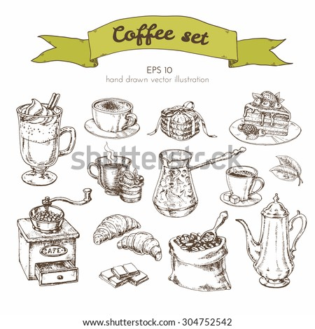 Vector Graphics Vintage illustration drawn by hand for the cafe menu. set with different types of coffee grinders, Turks, coffee beans, chocolate, biscuits, coffee pot - stock vector