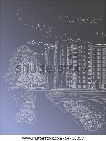Vector Gray architectural background with building (see jpg version in my portfolio) - stock vector