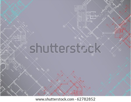 Vector gray architectural background with plans of buildings on the horizontal background (see jpg version in my portfolio) - stock vector