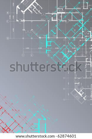 Vector gray architectural background with plans of buildings on the vertical format (see jpg version in my portfolio) - stock vector