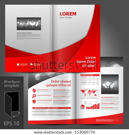 Geometric vector brochure template design black stock for Red brochure template