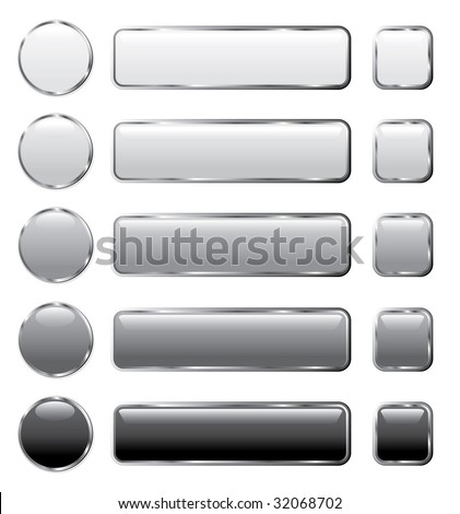 vector gray buttons for computing and web - stock vector