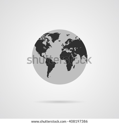 Vector Gray Globe Icon with Dark Gray Continents. Planet Earth.  - stock vector