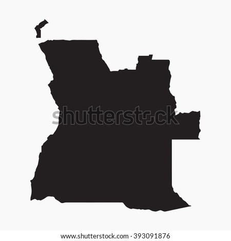 Vector gray map Angola. Isolated vector Illustration. Black on Grey background. EPS Illustration. - stock vector