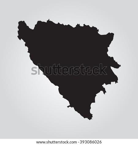 Vector gray map Bosnia & Herzegovina. Grey on gradient background. Isolated vector Illustration. Black on Gradient background. EPS Illustration. - stock vector