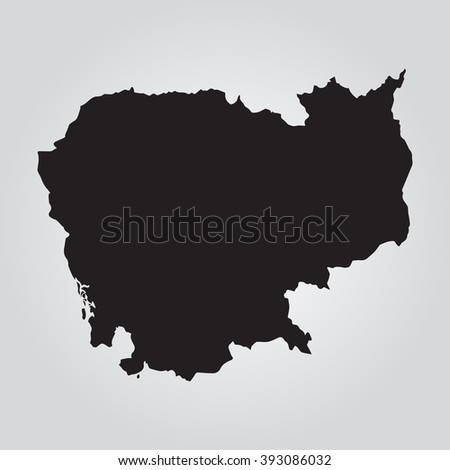 Vector gray map Cambodia. Grey on gradient background. Isolated vector Illustration. Black on Gradient background. EPS Illustration. - stock vector