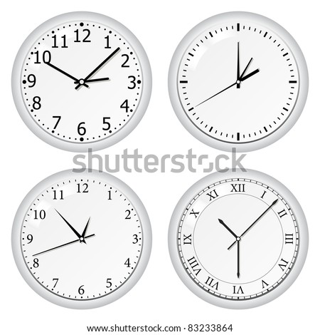 Vector gray wall clock - stock vector