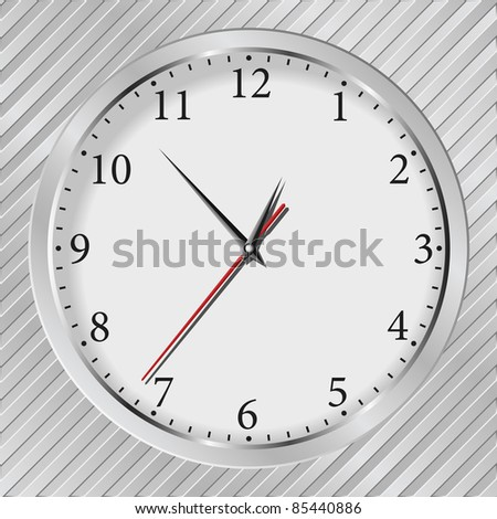 Vector gray wall clock on a metal silver striped background - stock vector