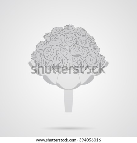 Vector Gray Wedding Bouquet of Roses. Flat Icon over light gray background. Simple element for your wedding designs, wedding business projects, logo, web and other your projects - stock vector