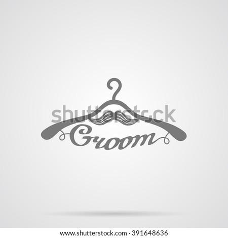 Vector Gray Wedding Hangers Groom Icon - stock vector