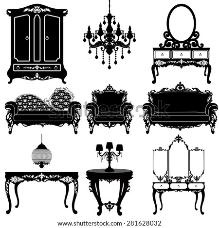 Vector great collection of furniture in the Baroque style. Big vector set of Antique furniture. ? Eleven different elements for your design - stock vector
