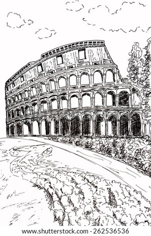 Vector - Great Colosseum, Rome, Italy - stock vector