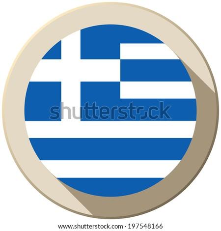 Vector - Greece Flag Button Icon Modern - stock vector