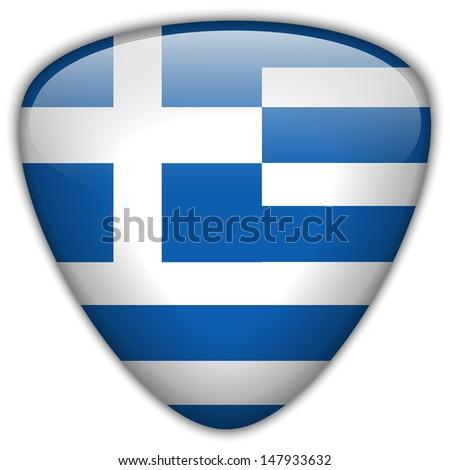 Vector - Greece Flag Glossy Button - stock vector