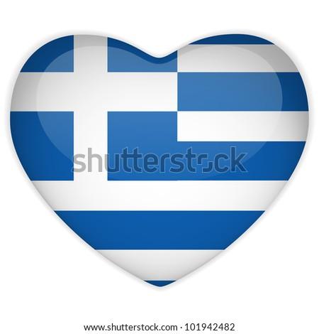 Vector - Greece Flag Heart Glossy Button - stock vector