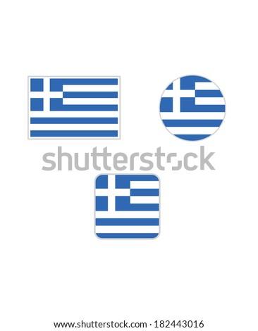 Vector Greece Flag Set - stock vector