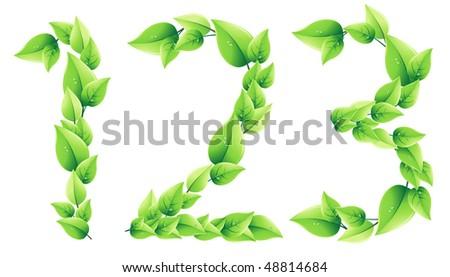 vector green alphabet. 10 EPS - stock vector