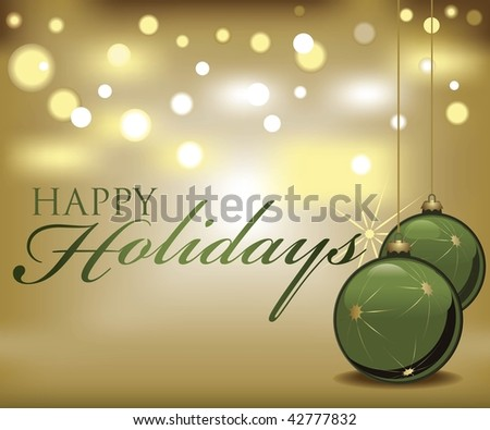 Vector green and gold Happy Holidays card