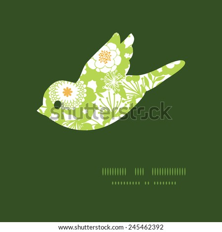 Vector green and golden garden silhouettes bird silhouette pattern frame - stock vector
