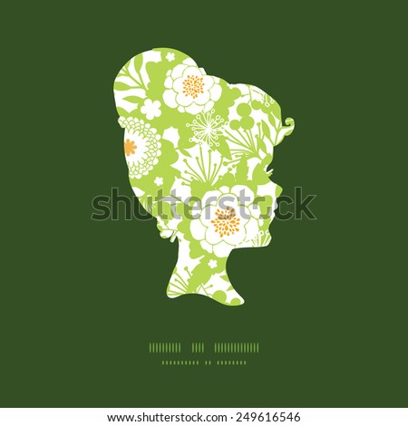 Vector green and golden garden silhouettes girl portrait silhouette pattern frame