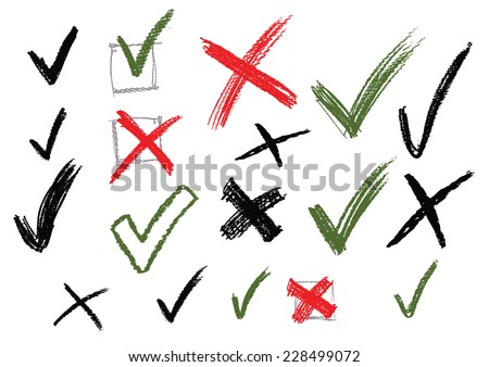 vector green and red illustration of check marks on white - stock vector