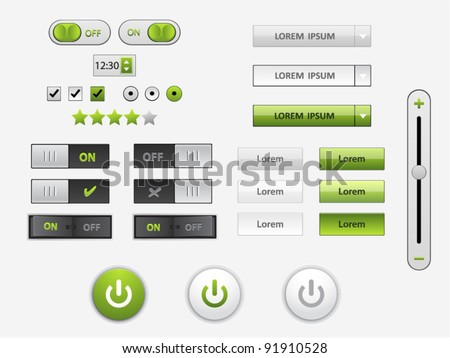 Vector green and white web elements and power icons in different conditions - stock vector