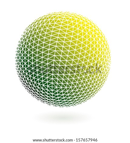 Vector green and yellow sphere. - stock vector