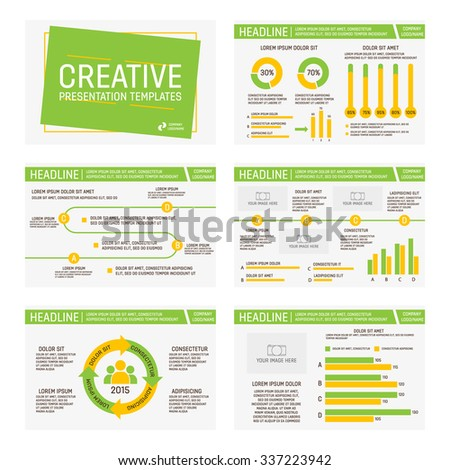 Vector green and yellow template for multipurpose presentation slides with graphs and charts.  - stock vector