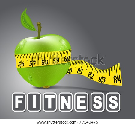 Vector green apple sport, measured the meter on a gray background - stock vector