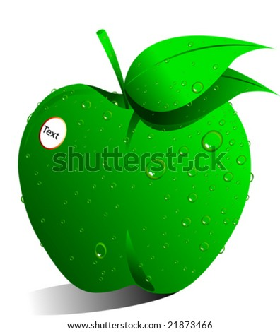vector green apple with dew