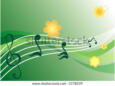 vector green background with notes and flowers