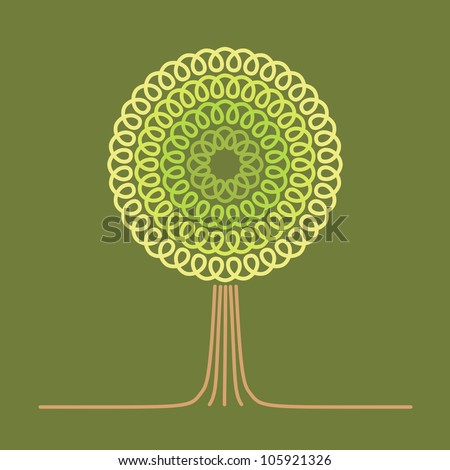 Vector green background with stylized tree. Card with text box. Abstract illustration for print and web - stock vector