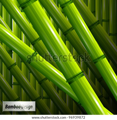 Vector green bamboo spring nature background - stock vector